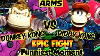 ABM: Donkey Kong Vs Diddy Kong !! ARMS Gameplay Match Battle !! ᴴᴰ
