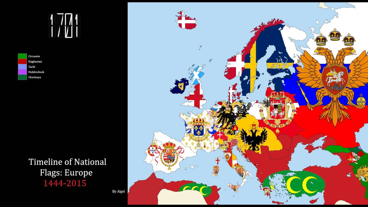 2015 Map Of Europe.Timeline Of National Flags Europe 1444 2015
