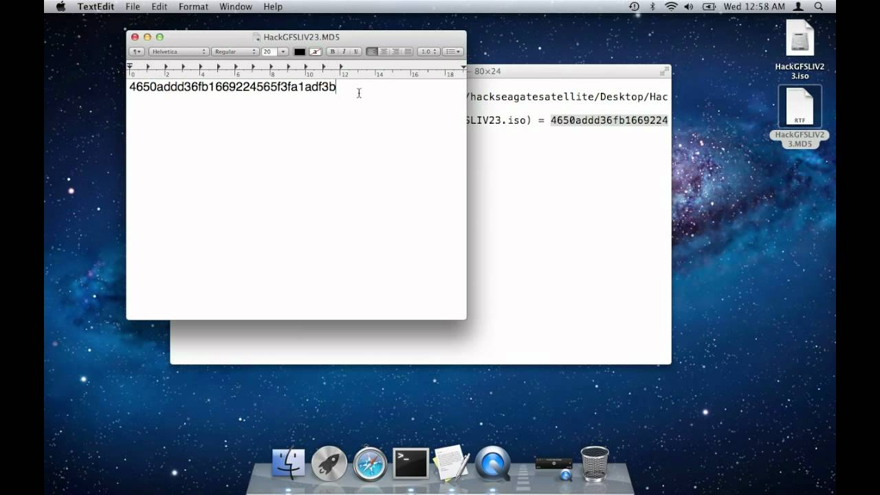 Using the OS X md5 instead of md5sum