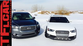 2015 Audi Allroad vs Infiniti QX60 Mashup Snowy AWD Review in TFL4K(http://www.TFLcar.com ) The 2015 Audi Allroad and the 2015 Infiniti QX60 don't really compete. The Allroad is a traditional station wagon while the QX60 is a 3 ..., 2015-01-05T13:59:52.000Z)