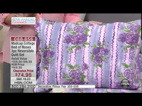 Madcap Cottage Bed of Roses 3pc Quilt French Blue