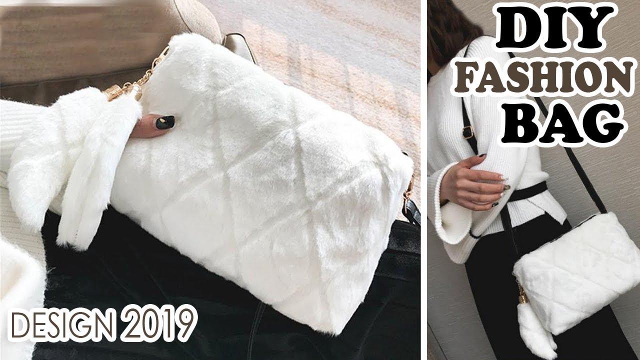 DIY WINTER PURSE BAG TUTORIAL // Cute Faux Fur Bag With Pockets Inside 6