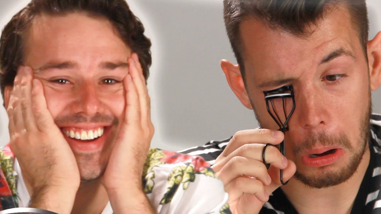 Guys Curl Their Eyelashes For The First Time Youtube