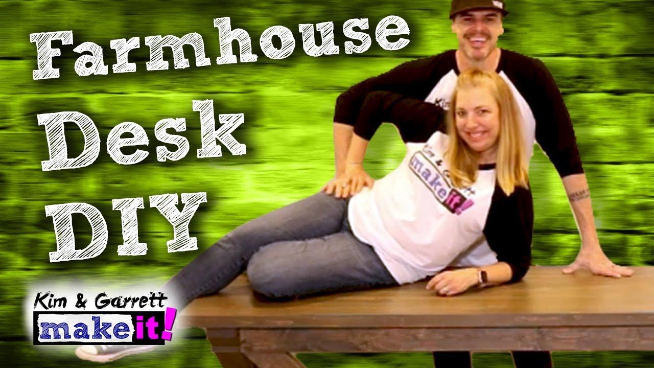 How To Build An Easy Farmhouse Desk Diy Youtube