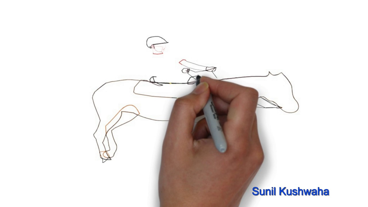 Easy Step By Step Tutorial On How To Draw Horse With Rider Youtube