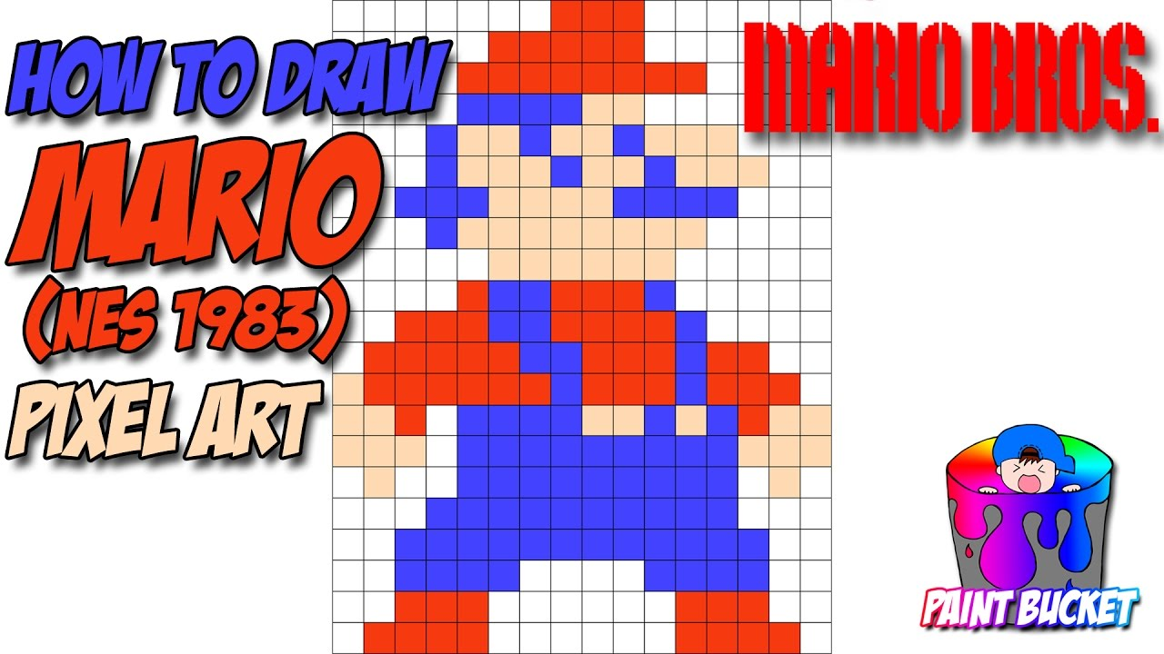 How To Draw Mario Pixel Art 8 Bit Drawing Mario Bros Nes 1983