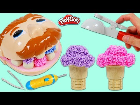 Feeding Mr. Play Doh Head Play Foam Ice Cream And Visit To Dr. Drill N Fill Dentist!