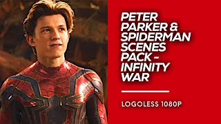 All Spiderman / Peter Parker Scenes Pack | Avengers: Infinity War Logoless 1080p HD