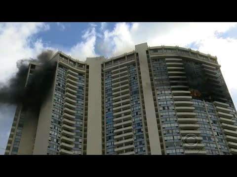 Fire in luxury apartment building in Honolulu, Hawaii