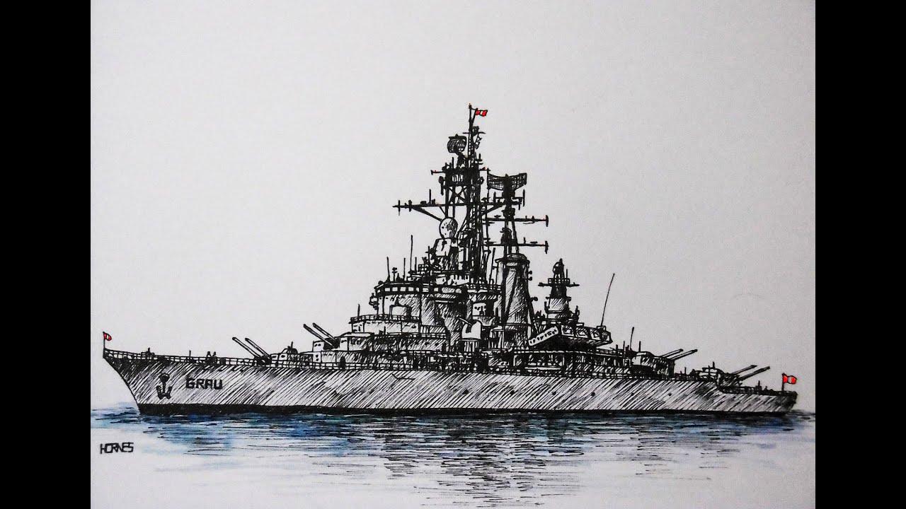 como dibujar un barco de guerra How to draw a battleship  YouTube