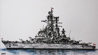 como dibujar un barco de guerra. How to draw a battleship