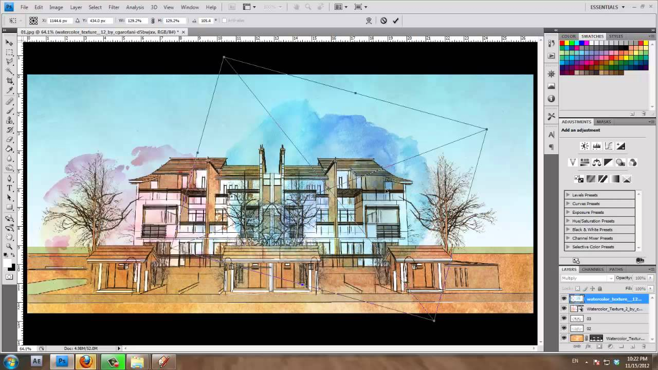 SketchUp and photoshop Tutorial : Water color Style by ...