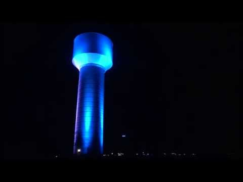 seguin texas elevated water storage tank colorful led light display