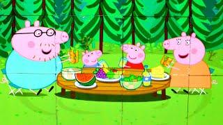 Свинка Пеппа Завтрак на природе собираем кубики пазлы для детей свинка пеппа | Семья свинки пеппы