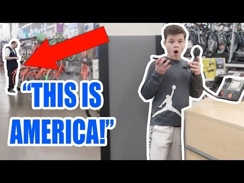 """PLAYING """"THIS IS AMERICA"""" ON THE WALMART INTERCOM! (COPS CALLED)"""