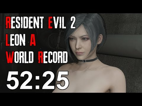 Resident Evil 2 Remake - Leon A Speedrun World Record - 52:2