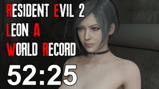 Resident Evil 2 Remake - Leon A Speedrun World Record - 52:25