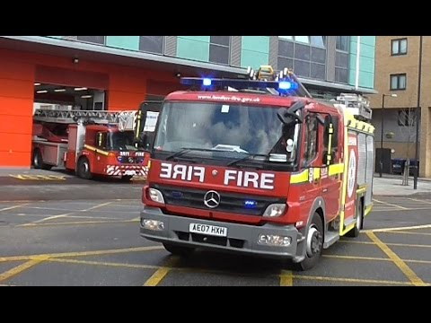 London Fire Brigade Pump Ladder & Turntable Ladder Responding from the fire station