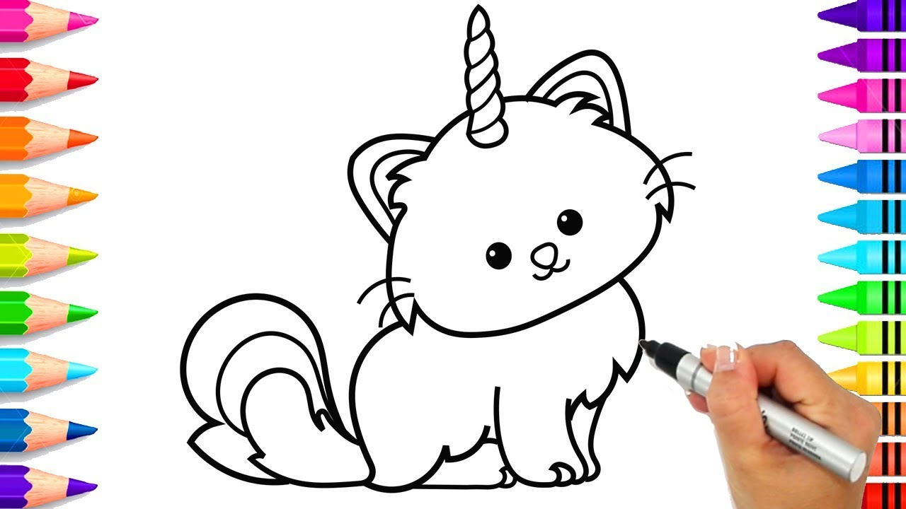 How to Draw a Caticorn Step by Step Easy for Kids | Cute Caticorn Coloring  Page | Unicorn Art - YouTube