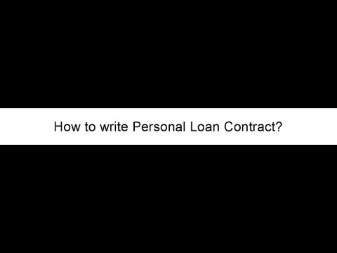 How to Write a Personal Loan Contract - YouTube