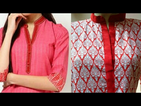 Stand Collar Designs For Kurti : Kurti collar neck design cutting and stitching in hindi