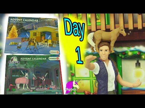 Schleich Horses Christmas Horse Club Advent Calendar + Playmobil Surprise Blind Bag Toys Day 1