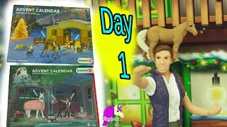 Schleich Horses Christmas Horse Club Advent Calendar + Playmobil Surprise Blind Bag Toys Day 1