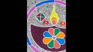Diwali Kolam aka Rangoli 2014 at my residence (Vilakku Kolam or Diya Rangoli))