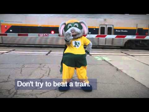 Capitol Corridor Rail Safety Video with Oakland A's Stomper - 30 seconds
