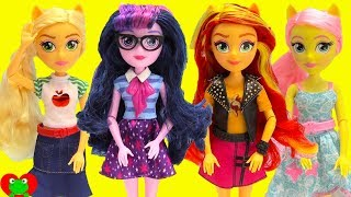 My Little Pony Equestria Girls Dolls Twilight Sparkle, Sunset Shimmer, Fluttershy Toy Video