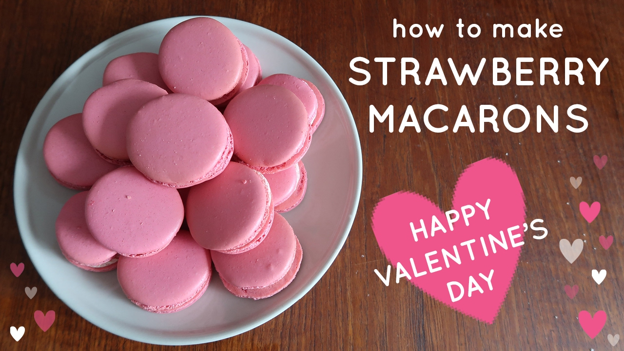 How To Make Pink STRAWBERRY French Macarons ♥ VALENTINEu0027S DAY ♥