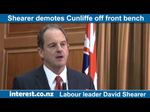 David Shearer demotes David Cunliffe