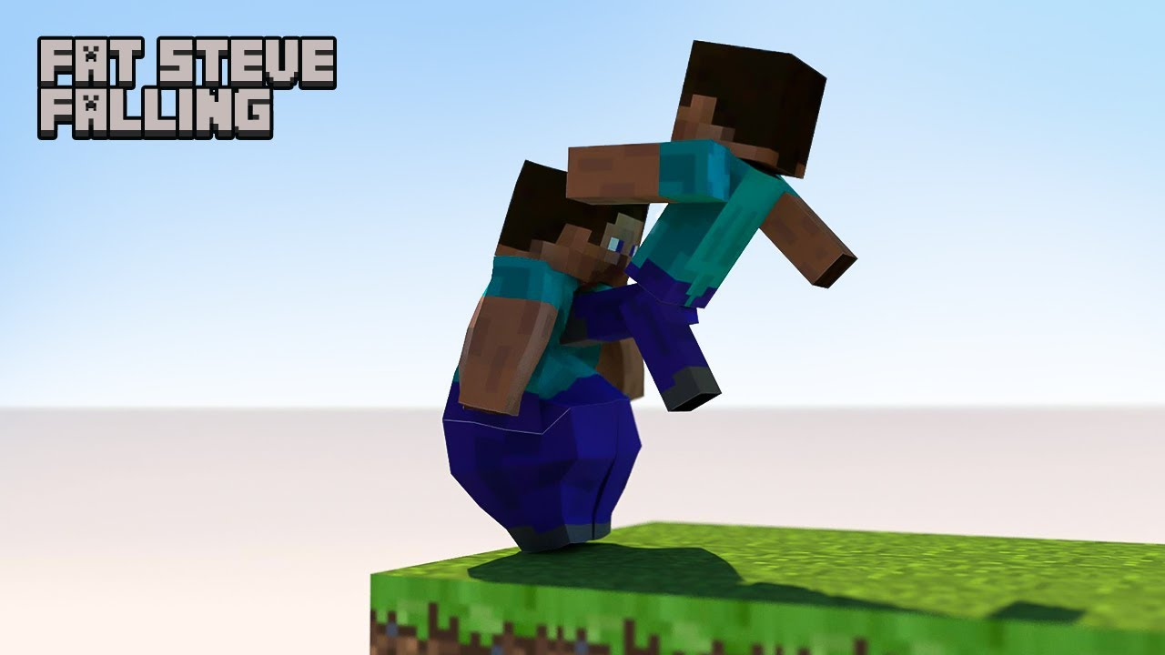 Minecraft - Steve falling down [fat Steve edition] 60FPS animation