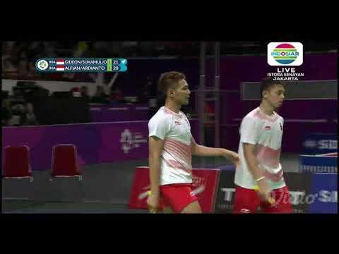 Spektakuler... Kevin/Gideon Vs Fajar/Ryan Emas Dan Perak Asian Games 2018. Indonesia Juara