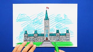 How to draw and color Parliament Hill, Ottawa, Canada