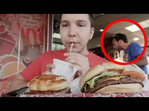 Caught On Camera: Almost Stabbed At Jack In The Box (Not For Kids)