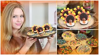Easy Fall & Thanksgiving Treats : Diy Sugar Cookies With Sprinkles  & Oreo Turkey`s
