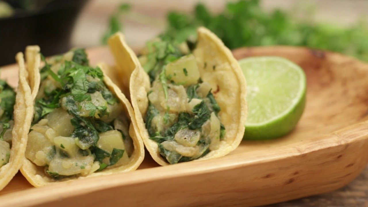 Spinach and Potato Tacos Recipe - Forks Over Knives - YouTube