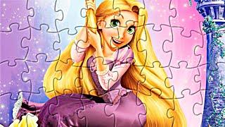 Принцессы Дисней. Собираем пазлы с принцессой Рапунцель. Disney princesses Tangled