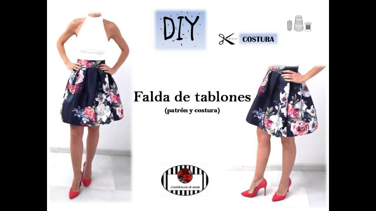 DIY. Falda de tablones (patrón y costura) - YouTube