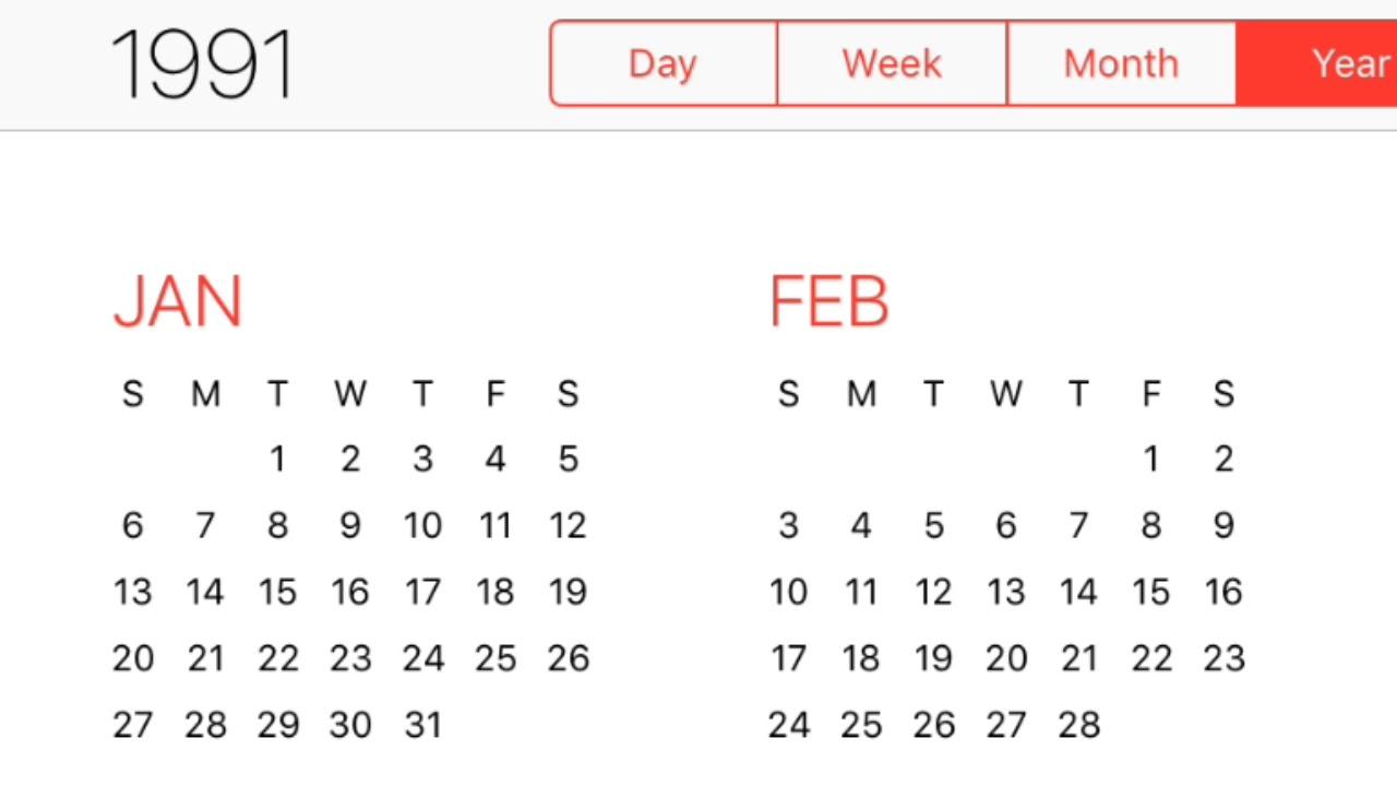 1991 Calendar Youtube