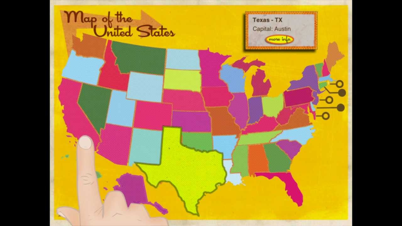Learn The States USA Capital And Geography Fact Learning IPad - Map of usa with capitals and states