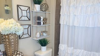 DECORATE WITH ME ON A BUDGET   BATHROOM DECORATING IDEAS   SMALL SPACE  APARTMENT BATHROOM MAKEOVER