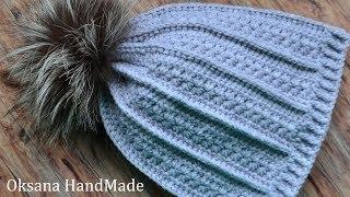 Стильная шапка крючком. Узор звездочки. Мастер класс. Hat Crochet
