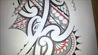 Awesome Maoristyle drawing! Handdrawn tribal tattoo with Promarker shading