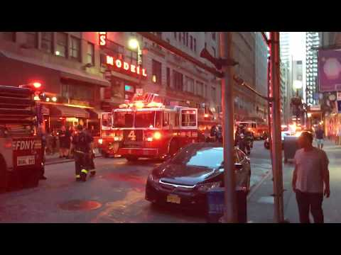FDNY Fire Trucks and Ladders in the West 47th Street NYC