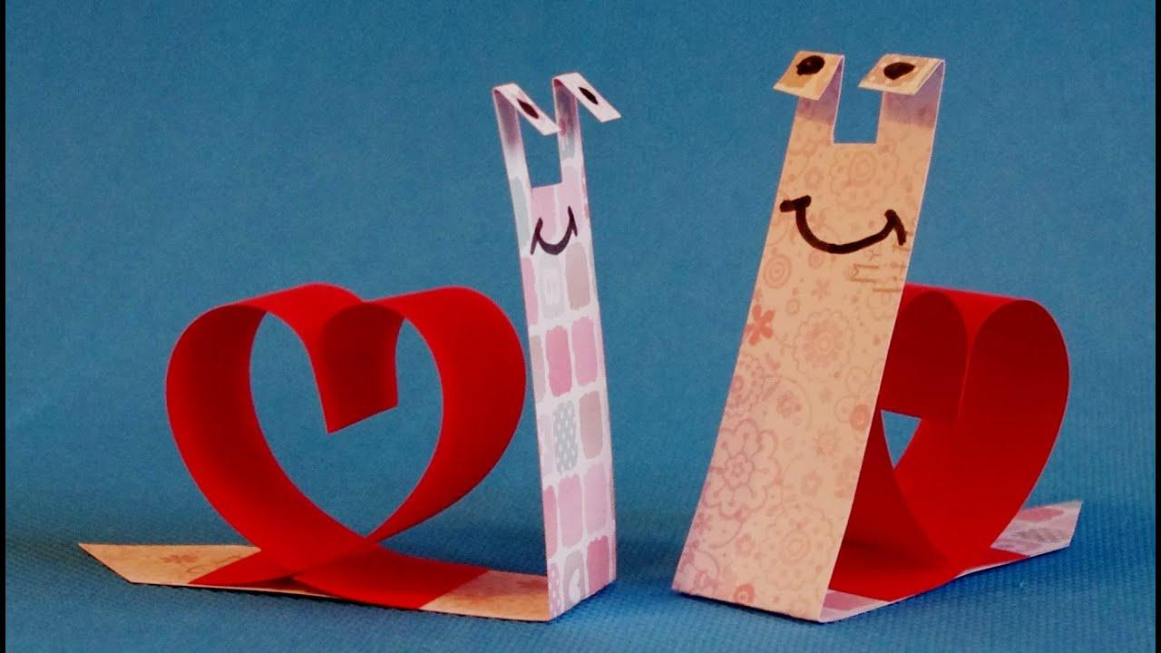 Как сделать подарок на 14 февраля из бумаги своими руками. Поделки. Валентинка.
