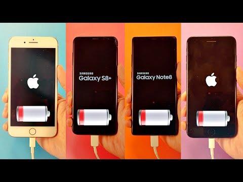 iPhone 8 Plus vs Note 8 vs S8 Plus vs 7 Plus - Battery Drain Test!