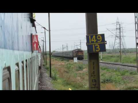 22880 TPTY-BBS Express with BZA WAM-4 xings with 12642 Thirukkural Express