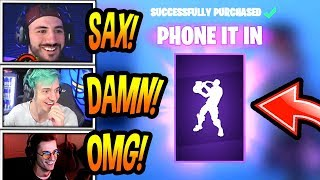 """STREAMERS REACT TO *NEW* """"PHONE IT IN"""" EMOTE/DANCE! (SAXOPHONE) Fortnite FUNNY & EPIC Moments"""